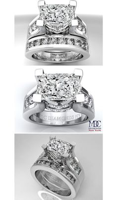 Modern Horizontal Radiant Cut diamond Engagement ring & Matching wedding ring Bridal Set