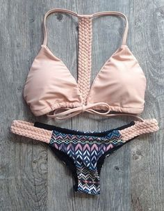 Pink bowknot bikini