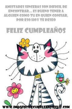 24 Cartas De Cumpleaños Para Una Amiga | Imágenes Bonitas Gratis Happy Birthday Images, Happy Birthday Greetings, Meditation Pictures, Animal Art Projects, Cat Clipart, Cat Character, Cat Art Print, Paint Cards, Christmas Owls