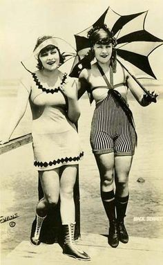 The bathing suits were even seen as too scandalous, tight, form fitting, sleeveless outfits were not popular til the 1920's.  Although they weren't even close to the bathing suits we have today, they were seen as a shock during the time period.