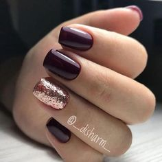 Cabernet Red With Gold Glitter Holiday Nail Accent