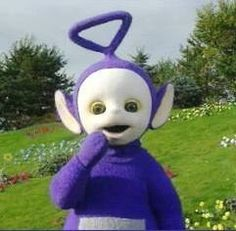 "It said, ""The purple teletubby! Tinky Winky's antenna is a triangle! That is SO you."" hahahaha.  I got Tinky Winky! Which Teletubby Are You?"