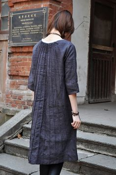 Linen Tunic Dress - Linen Shirt Tunic - Custom Made