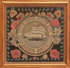 """Rafael Osona Auctions Nantucket MA - 19th Century English Woolie """"Portrait of the H.M.S. Eruydice"""", depicting the ship within a beaded life preserver"""