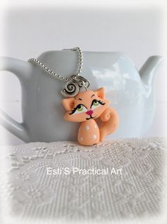Polymer Clay Peach Kitten Pendant Necklace miniature by estico, $13.00