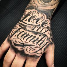 Neck Tattoo For Guys, Hand Tattoos For Guys, Mens Hand Tattoos, Tattoo Lettering Fonts, Tattoo Script, Dope Tattoos, Black Tattoos, Inner Bicep Tattoo, Faded Tattoo