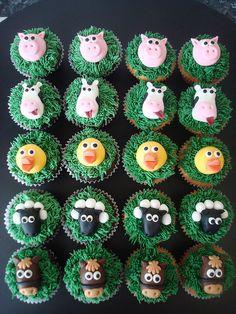 Full set of cupcakes for a little boys birthday at the local farm Farm Animal Cupcakes, Farm Animal Party, Farm Animal Birthday, Barnyard Party, Farm Party, Barnyard Cupcakes, Farm Birthday Cakes, Birthday Cupcakes, Themed Cupcakes