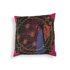 PEACOCK CUSHION COVER.  Oozing freshness inspired by nature, this exotic cushion cover celebrates the beauty of India?s national bird, Peacock. The dramatic pattern and unusual colour combination makes for a unique design. Will go with almost any kind of decor and add life to your interiors. Will instantly jazz up an otherwise dull interior.  www.covetlo.com