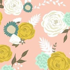Summer blooms on pink fabric by >>mintpeony<< on Spoonflower - custom fabric