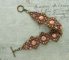Linda's Crafty Inspirations: Bracelet of the Day: Flutter with Candy Beads - Rosaline