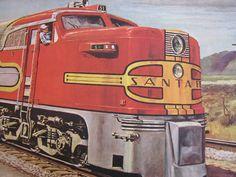 1948 Santa Fe Diesel Streamliner Vintage Railroad Train Poster ...