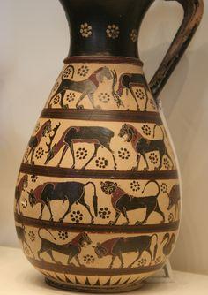 Black-figured Olpe, Greek made in Corinth, 650-625 BC, Terracotta, The Getty Villa, Malibu, California