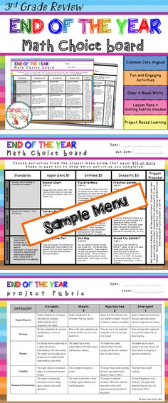 3rd Grade End of the Year Math Choice Board - This math review menu project choice board is an amazing differentiation tool that not only empowers students through choice but also meets their individual needs. At the same time, students are able to show their understanding of 3rd grade math concepts at a variety of TOK levels. This board contains three leveled activities for each domain: appetizer, entrée, and dessert.
