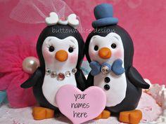Happy Handmade Personalized Penguin Wedding Cake by Buttonwilloe. , via Etsy.