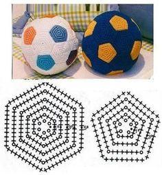 how to make football* amigurumi football* crochet ball* Crochet Ball, Crochet Baby Toys, Crochet Diy, Crochet Motifs, Crochet Chart, Crochet For Kids, Crochet Stitches, Irish Crochet, Vintage Crochet