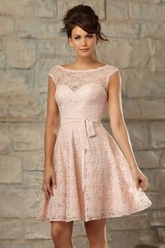 Wedding Dresses, Bridesmaid Dresses, Prom Dresses and Bridal Dresses Mori Lee Bridesmaid Dresses - Style 725 - Mori Lee Lace Affairs Bridesmaid Dresses, Spring Cocktail length lace dress with matching chiffon tie sash. Photographed in Blush. Pink Bridesmaid Dresses Short, Designer Bridesmaid Dresses, Lace Bridesmaids, Prom Dresses, Wedding Dresses, Dresses 2016, Lace Dresses, Dress Lace, Flowing Dresses