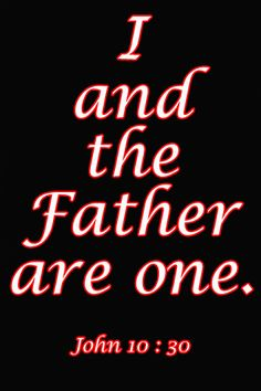 John 10:30 ~ [Jesus said,] I and the Father are one.