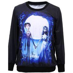 Corpse Bride Sweatshirt ($22) ❤ liked on Polyvore featuring tops, hoodies, sweatshirts, shirts, black, sweatshirts hoodies, sweat tops, sweat shirts, black sweat shirt and black sweatshirt