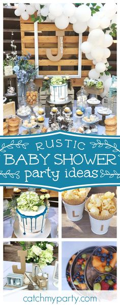Take a look at this wonderful rustic baby shower. The cake with drip icing is so pretty!! See more party ideas and share yours at CatchMyParty.com #babyshower #rustic