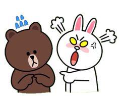 My secret stash of LINE Stickers Collection Cute Bear Drawings, Cute Disney Drawings, Kawaii Drawings, Cute Love Gif, Cute Love Pictures, Cartoon Stickers, Cute Stickers, Line Cony, Bear Gif