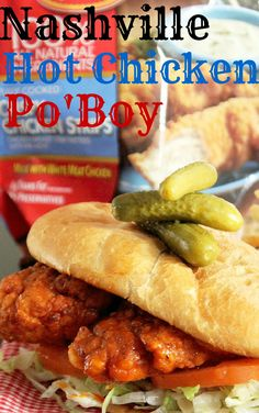 Nashville Hot Chicken Po Boy-Creole Contessa----made this and it's fine, but not a fav. Bento, Sauce For Chicken, Chicken Recipes, Sammy, Wrap Sandwiches, Southern Recipes, I Love Food, Soul Food, Carne