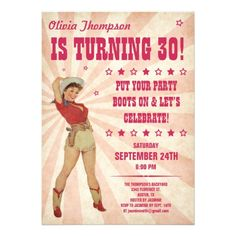 Free Printable Cowgirl 30TH Birthday Invitations | these cowgirl birthday party invitations are pale pink with a retro ...
