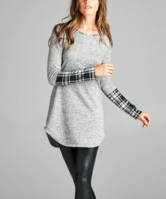 Loving this Paolino Heather Gray & White Plaid Contrast Cuff Tunic on #zulily! #zulilyfinds