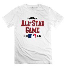 Amazon.com: TASY Men's 2015 MLB All Star Game Mustache 100% Cotton T-shirt White: Clothing