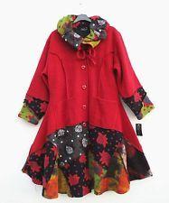 NEU Sarah Santos TRAUMHAFT Mantel Coat Manteau 90% Wolle L 44 46 Lagenlook rot