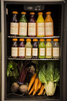 What is in our fridge? Full of nutritious, cold pressed juices and organic vegetables