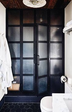 40 ideas vintage bath room door shower enclosure for 2019 Glass Shower Doors, Bathroom Doors, White Bathroom, Frosted Shower Doors, Minimal Bathroom, Boho Bathroom, Glass Doors, Black Interior Doors, Interior Modern