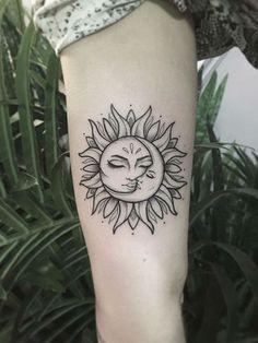 Moon Sun Tattoo, Sun Tattoos, Dope Tattoos, Pretty Tattoos, Beautiful Tattoos, Body Art Tattoos, Small Tattoos, Sleeve Tattoos, Sun And Moon Tattos