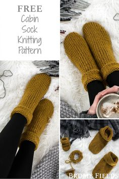 FREE Cozy Cabin Tube Sock Knitting Pattern Make your toes nice and toasty with these oversized socks bromefields freeknittingpattern tubesock cabinsock cabin cozy falling free knitting leaves pattern Sock Tube Sweater Knitting Patterns, Knitting Stitches, Knitting Socks, Knit Patterns, Free Knitting, Start Knitting, Knitted Socks Free Pattern, Knit Slippers Pattern, Simple Knitting Patterns