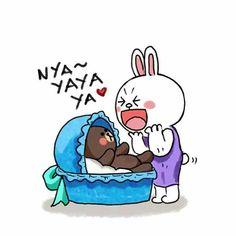 Cute Couple Cartoon, Cute Couple Art, Cute Cartoon, Cute Couples, Cute Love Gif, Cute Cat Gif, Line Cony, Cony Brown, Cute Bear Drawings