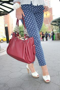 I'd like polka dot jeans with a white vneck and red flats