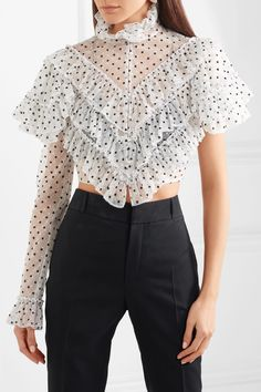 Rodarte | Cropped ruffled polka-dot flocked tulle blouse | NET-A-PORTER.COM