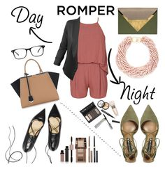 """""""Day to Night"""" by janicevc on Polyvore featuring Olive + Oak, Steve Madden, Fendi, LE3NO, Kenneth Jay Lane, Dareen Hakim, Borghese, Physicians Formula, DayToNight and romper"""