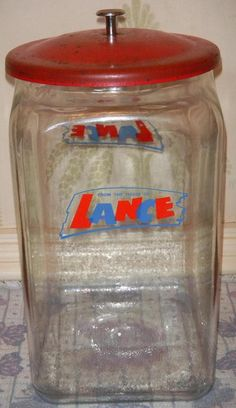 Vintage 8 Sided Lance Cracker Glass Conter Jar W Metal