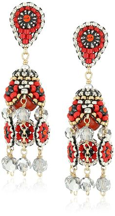Amazon.com: Miguel Ases Red Carnelian and Pyrite 3-Dimensional Mini Flower Post Drop Earrings: Jewelry