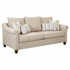 "Beige sofa with 3 back cushions and fiber-wrapped foam padding.   Product: SofaConstruction Material: Polyester, foam and woodColor: BeigeFeatures: Accent pillows includedDimensions: 33"" H x 88"" W x 40"" D"