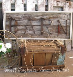 """Barn"" Wood Sign  Upcycled  Vintage Hardware  by SweetMagnoliasFarm, 55.00"