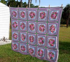 Image detail for -Hand Crochet Afghan Grandmother's Rose garden by Suzyprecious