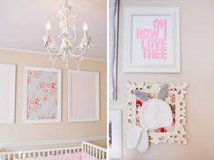pink white elegant romantic shabby chic girl nursery frames of canvas fabric