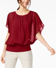 JM Collection Flutter-Sleeve Top, Created for Macy's - Tops - Women - Macy's Gym Tops Women, Flutter Sleeve Top, Ideias Fashion, Plus Size, Clothes For Women, Women's Clothes, Sleeves, How To Wear, Outfits