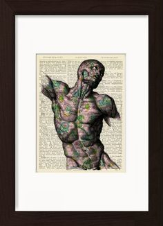 Anatomical Torso With Paisley Pattern Mounted/Matted Dictionary Art print. Mounted /Matted and Printed on 1890's Italian Dictionary. All our dictionary pages have that beautiful golden patina color that only comes from age. The result is a unique and absolutely beautiful print that is definitely a conversation piece. Page Size 180 mm x 140 mm / 5.5 x 7.5 inches. Mount Opening 130 mm x 170 mm / 5 x 6.5 inches. FRAME NOT INCLUDED. Every print comes with a mat/mount which means the final...