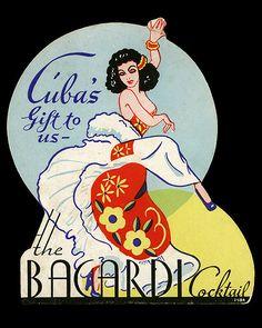 Arkiva Tropika - Bacardi Cocktail table card from Hotel Winfield Scott - Elizabeth, NJ