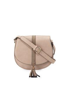 188388c8d6 Neiman Marcus Tassel Faux-Leather Saddle Bag
