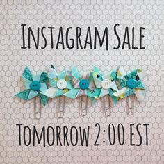 Hi friends! Tomorrow is the day! I'm having an Instagram sale at 2:00 EST. Yay! These new aqua and teal clips will be in our sale along with  a few new cup cozies and more gingham and RAINBOW clips sets.   You all blessed me so much at my last sale. Big big love to you all! Thank you!  P.s. I'll share a few more sneak peaks throughout the day.  Happy Thursday! by simpleoctober