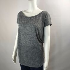 AE American Eagle MEDIUM Slub Knit Top Womens Heathered GRAY Cap Sleeves  #AmericanEagleOutfitters #KnitTop #Casual