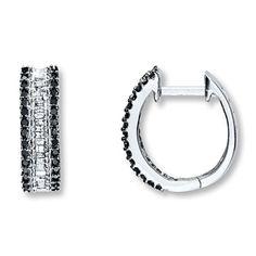 Black Diamond Earrings 1/2 ct tw Round-Cut 10K White Gold